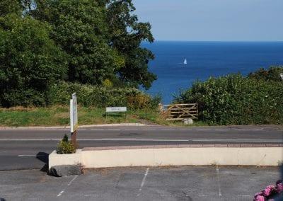 Devon Palms view across car park to sea